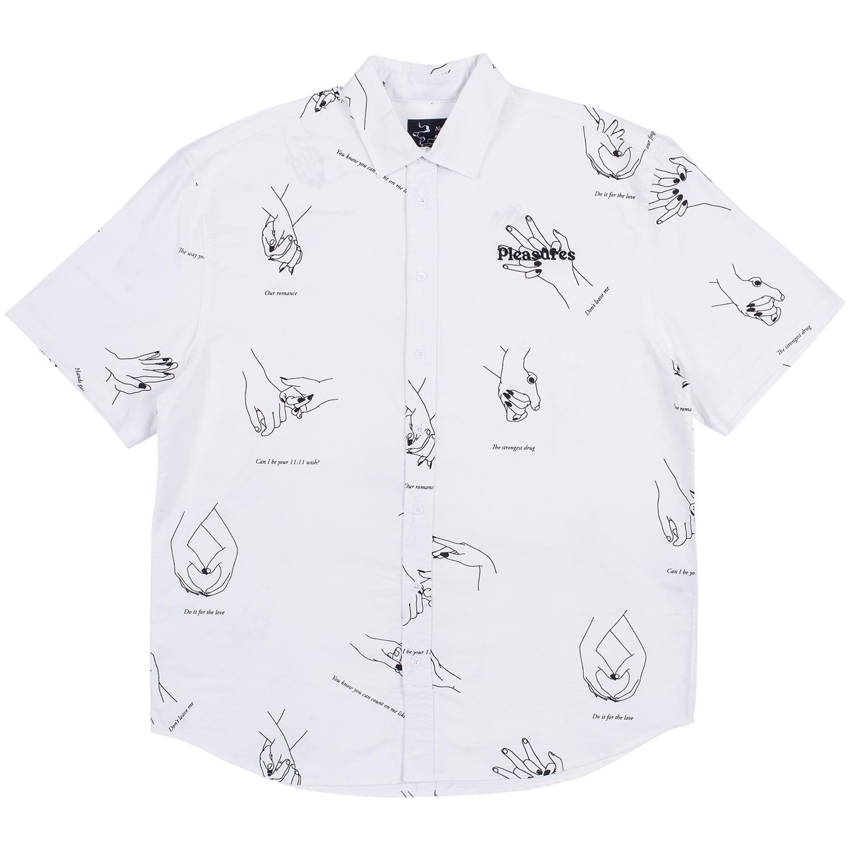【PLEASURES/プレジャーズ】HANDS BUTTON DOWN 半袖シャツ / WHITE