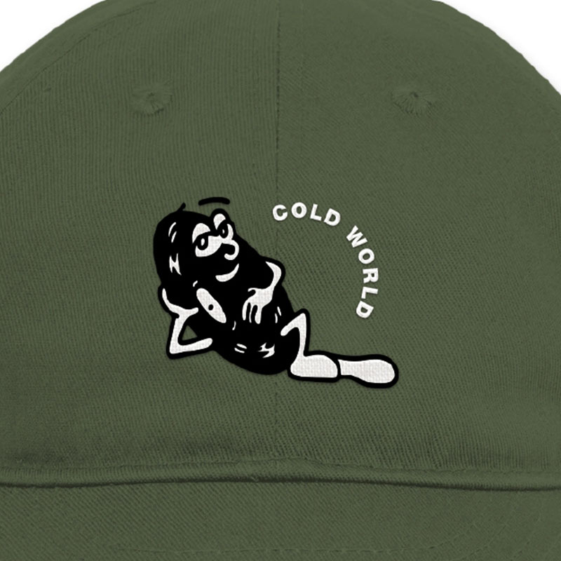 【COLD WORLD FROZEN GOODS/コールドワールドフローズングッズ】RECORD GROOVE UNSTRUCTURED HAT キャップ / OLIVE