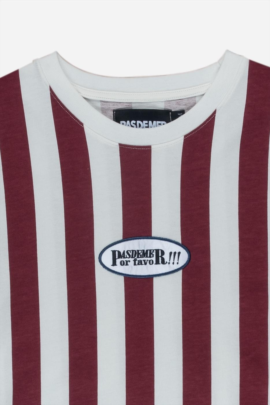 【PAS DE MER/パドゥメ】POR FAVOR T-SHIRT  カットソーTシャツ / NATURAL/BURGUNDY STRIPES