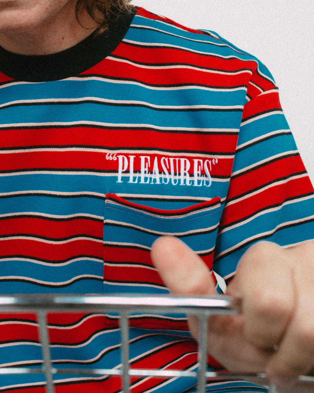 【PLEASURES/プレジャーズ】CHAINSMOKE STRIPE SS SHIR カットソーTシャツ / BLUE/MAROON
