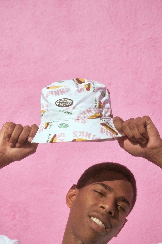 【PETALS AND PEACOCKS / ペタルズ アンド ピーコックス × PINK'S / ピンクス】MADE SPECIAL BUCKET HAT バケットハット / WHITE