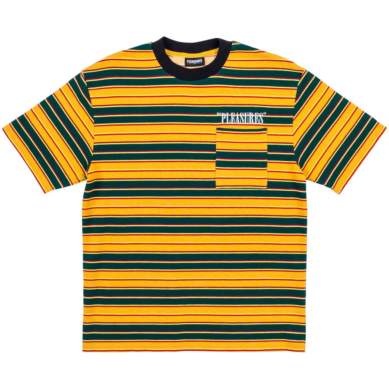 【PLEASURES/プレジャーズ】CHAINSMOKE STRIPE SS SHIR カットソーTシャツ / YELLOW/GREEN