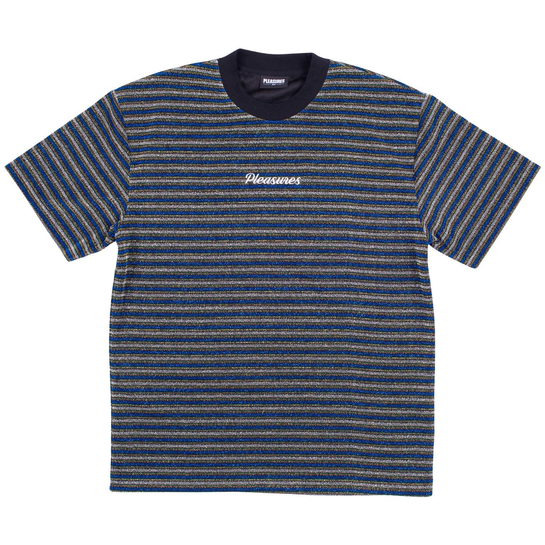 【PLEASURES/プレジャーズ】DISTURBED GLITTER STRIPE SHIRT カットソーTシャツ / BLUE