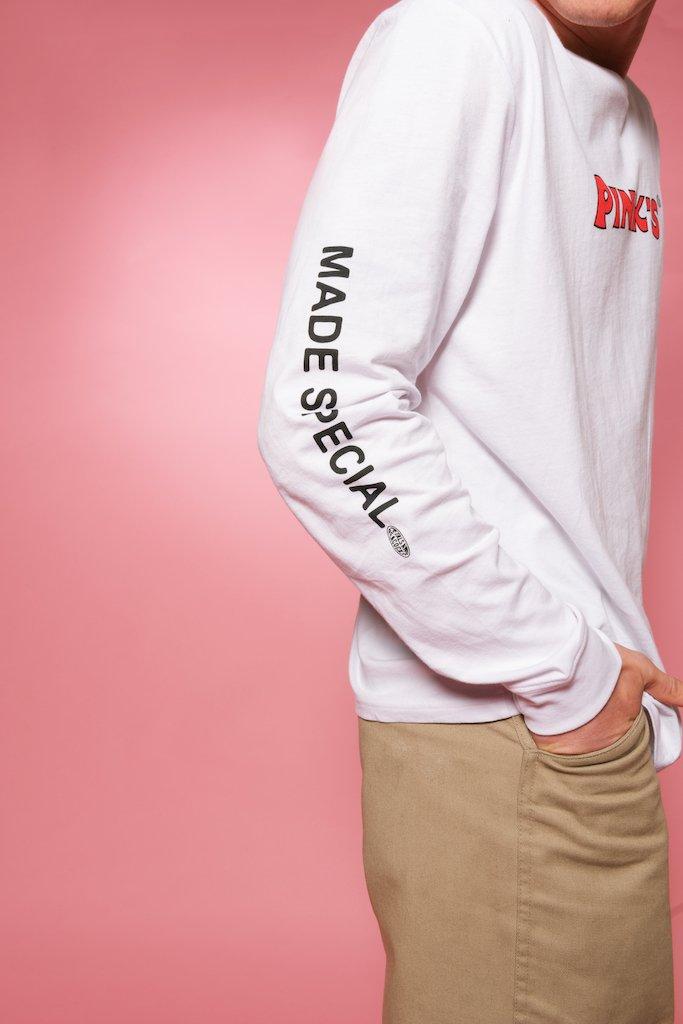 【PETALS AND PEACOCKS / ペタルズ アンド ピーコックス × PINK'S / ピンクス】PINK SHINE ロングTシャツ / WHITE