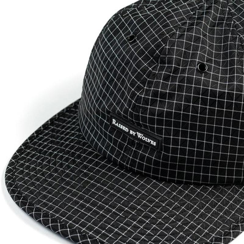 【RAISED BY WOLVES/レイズドバイウルブス】GRIDSTOP 6 PANEL CAP ストラップバックキャップ / BLACK