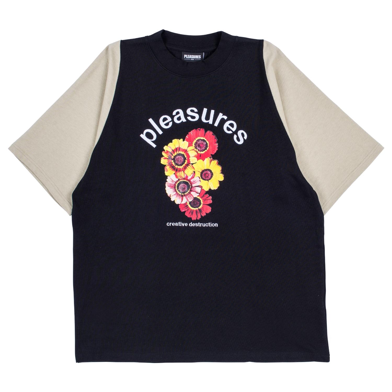 【PLEASURES/プレジャーズ】DESTRUCTION HEAVY KNIT SHIRT カットソーTシャツ / BLACK