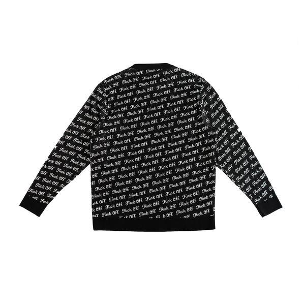 【RAISED BY WOLVES/レイズドバイウルブス】FUCK OFF JACQUARD SWEATER セーター / BLACK