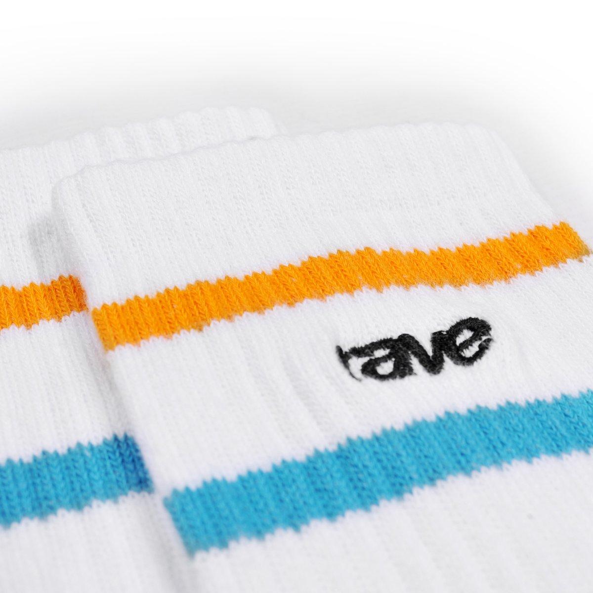 【RAVE SKATEBOARDS/レイブスケートボード】RAVE LOGO SOCKS (PACK OF 3 PAIRS) ソックス / WHITE