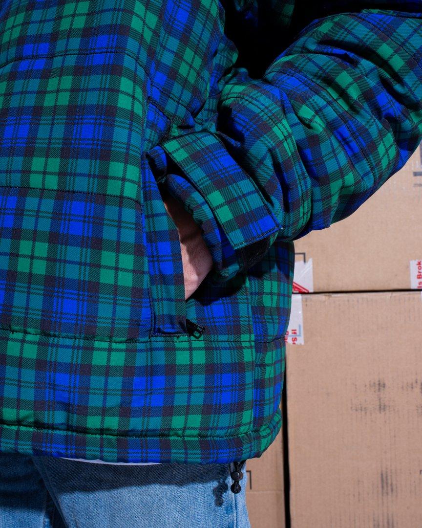 【PLEASURES/プレジャーズ】DECADES PLAID PUFFER JACKET ジャケット / BLUE