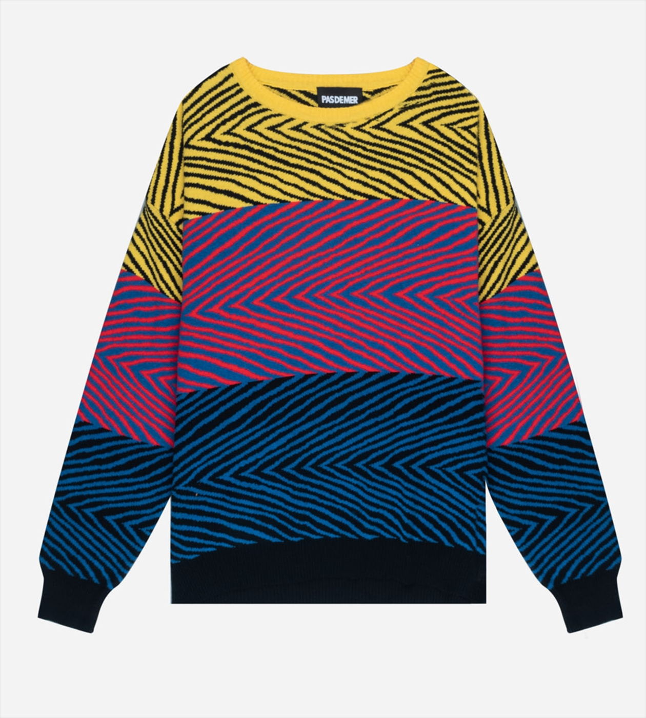 【PAS DE MER/パドゥメ】TIGER KNIT ニット / YELLOW/RED/BLUE PATTERN