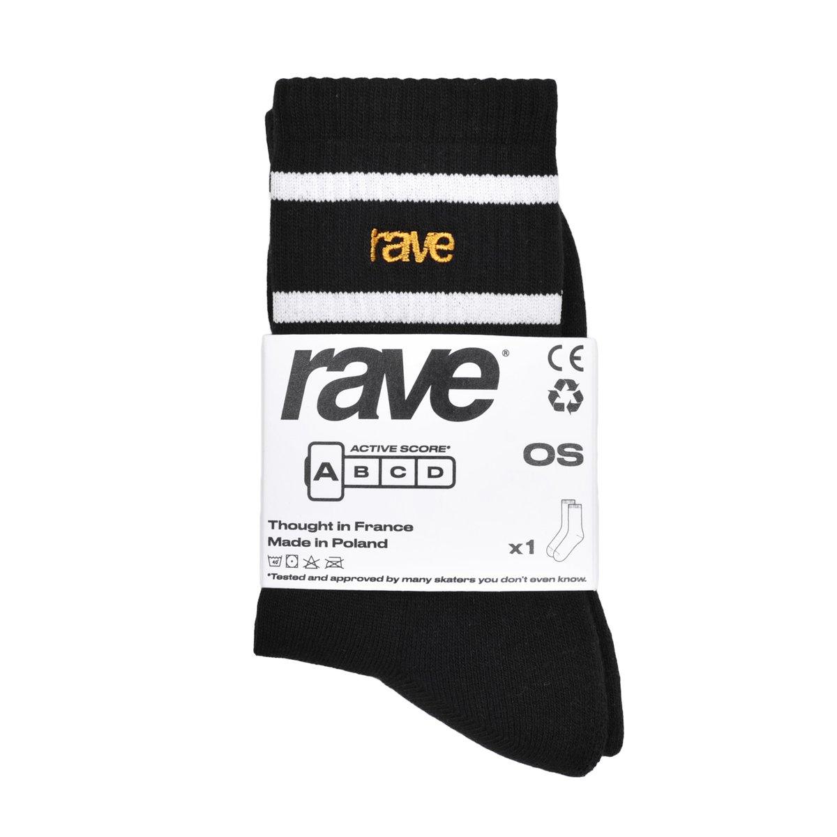 【RAVE SKATEBOARDS/レイブスケートボード】RAVE LOGO SOCKS (PACK OF 3 PAIRS) ソックス / BLACK