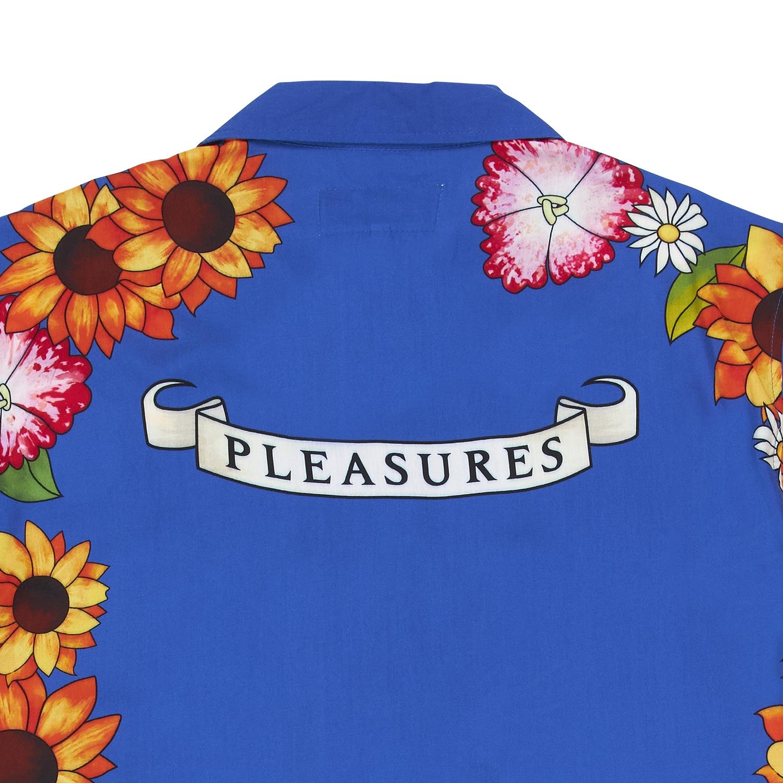 【PLEASURES/プレジャーズ】HEART BUTTON DOWN 半袖シャツ / BLUE