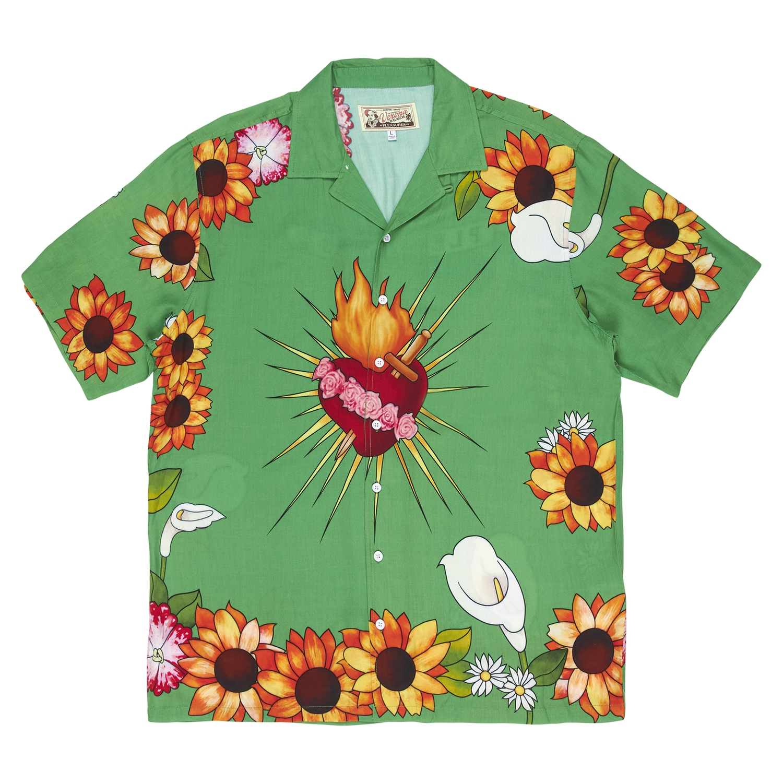 【PLEASURES/プレジャーズ】HEART BUTTON DOWN 半袖シャツ / GREEN