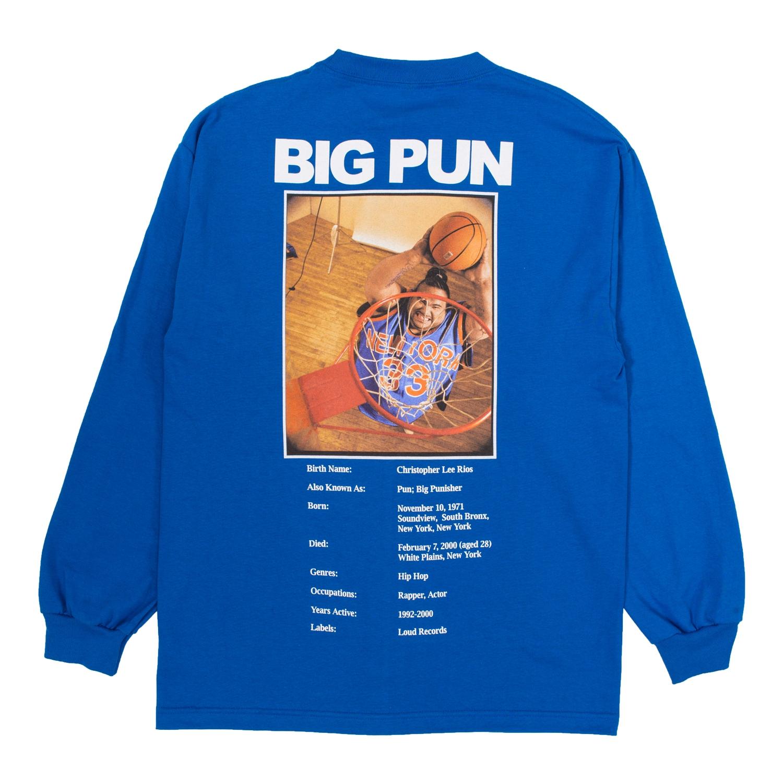 【PLEASURES/プレジャーズ×BIG PUN/ビッグ・パン】STATS LONG SLEEVE ロングTシャツ / ROYAL BLUE