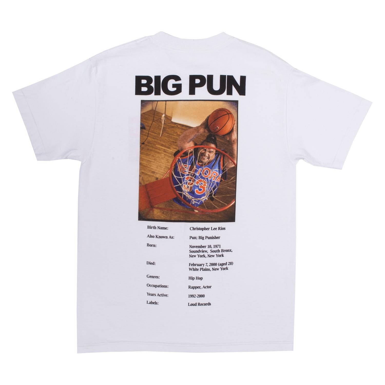 【PLEASURES/プレジャーズ×BIG PUN/ビッグ・パン】STATS T-SHIRT Tシャツ / WHITE