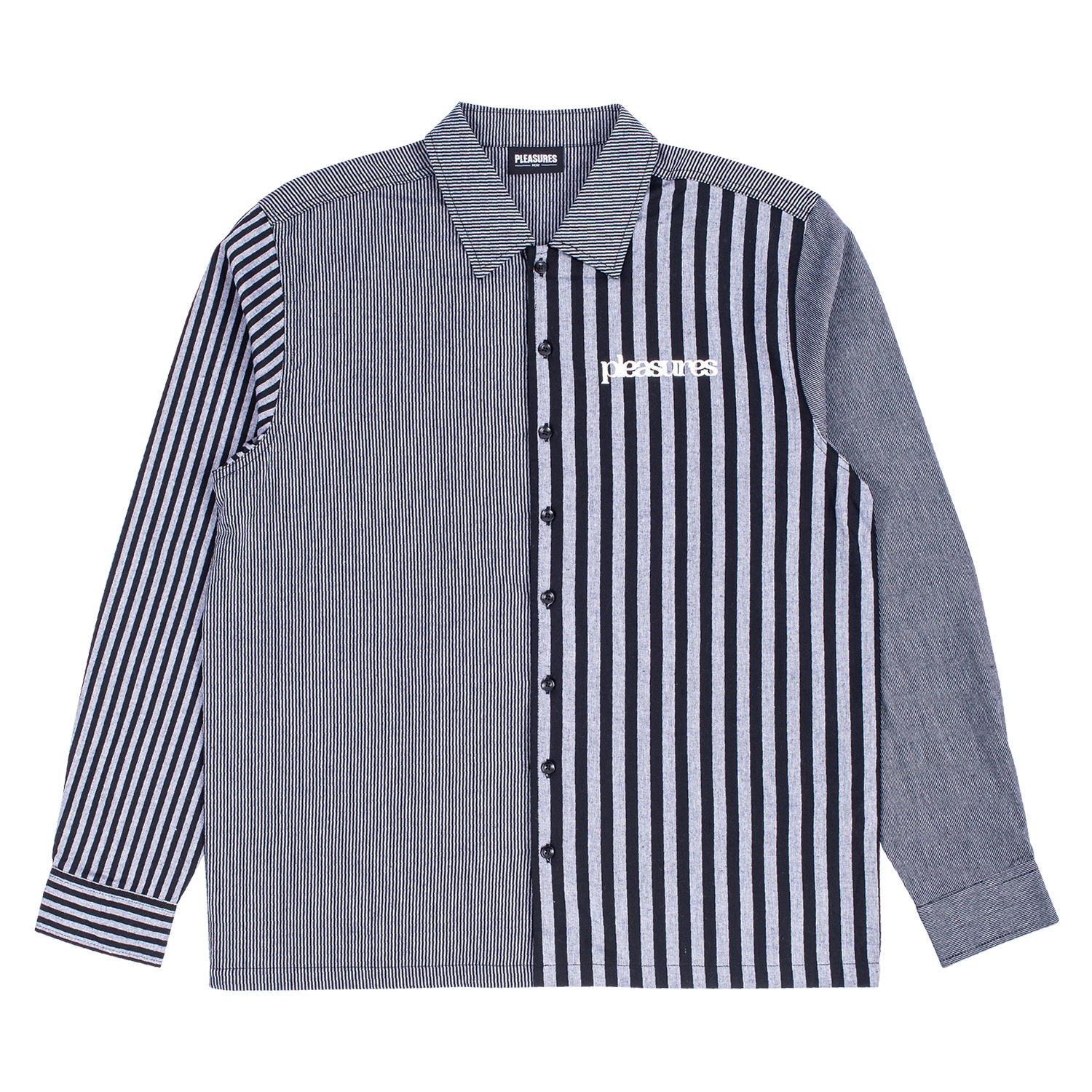 【PLEASURES/プレジャーズ】SOLAR MULTI STRIPED L/S BUTTON DOWN 長袖シャツ / GREY
