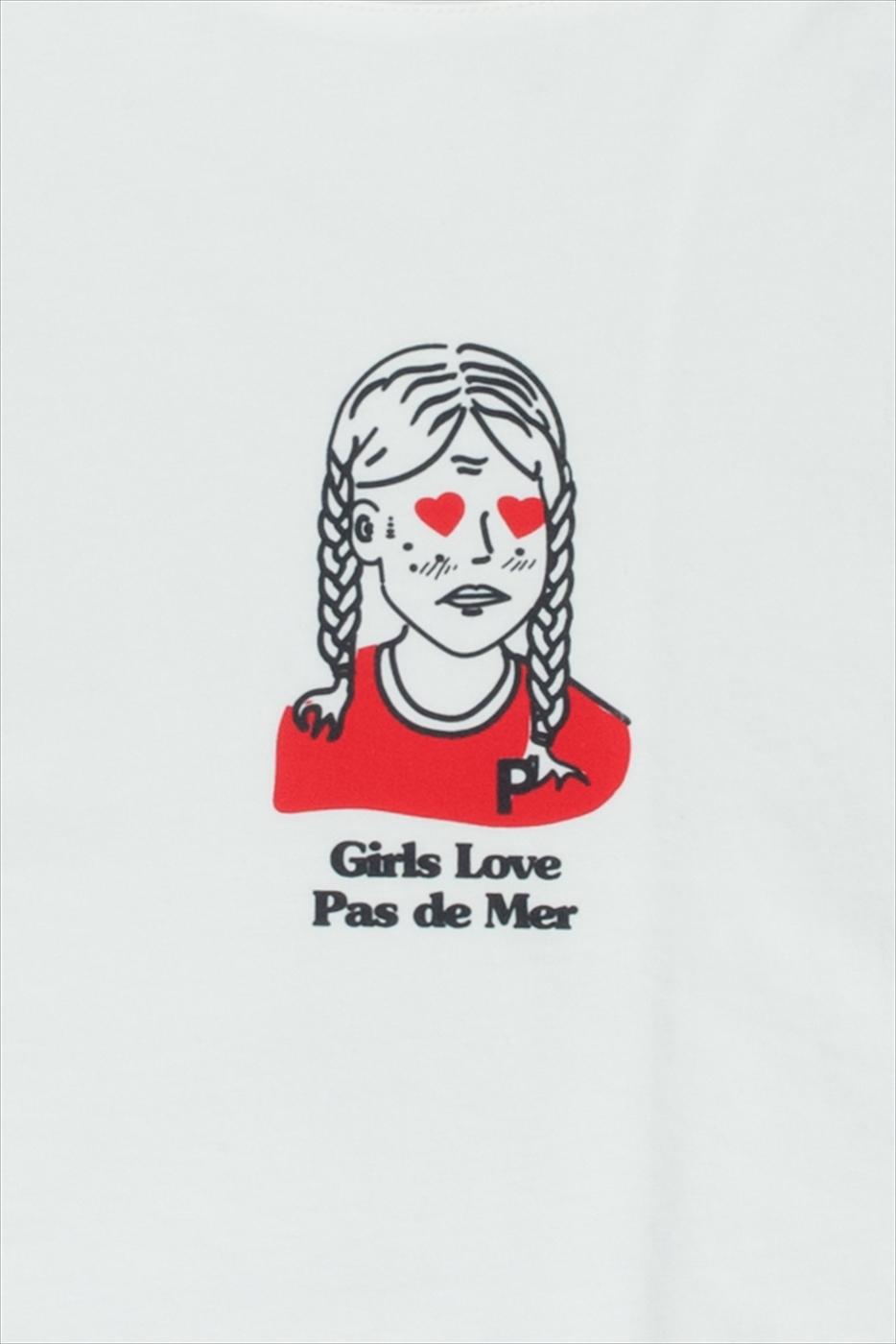 【PAS DE MER/パドゥメ】GIRLS CROPPED T-SHIRT  ウィメンズクロップドTシャツ / WHITE