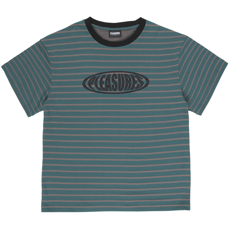 【PLEASURES/プレジャーズ】SPORTS STRIPED SHIRT Tシャツ / GREEN