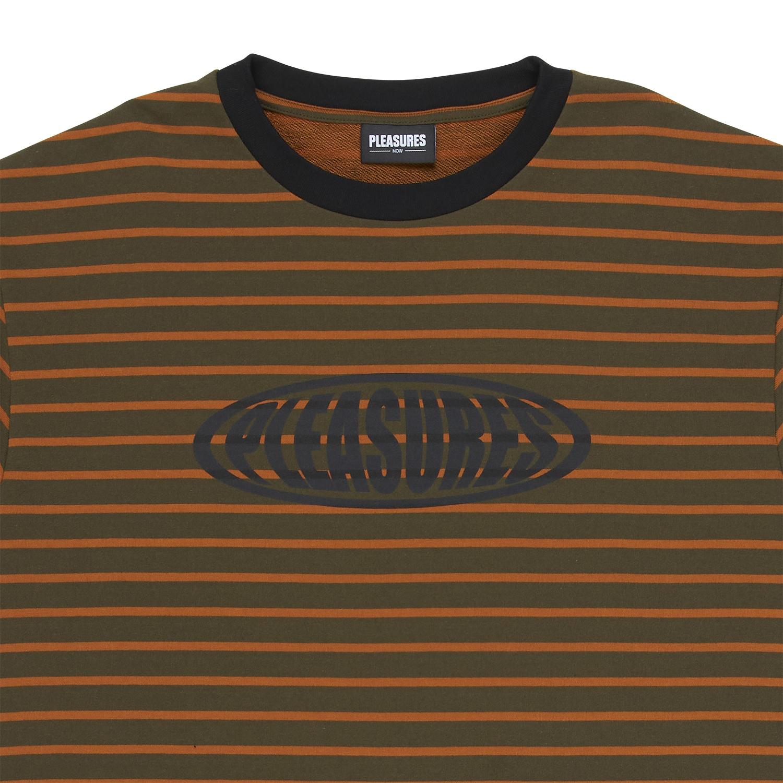 【PLEASURES/プレジャーズ】SPORTS STRIPED SHIRT Tシャツ / ORANGE