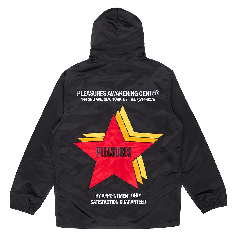 【PLEASURES/プレジャーズ】BERLIN SATIN COACHES JACKET コーチジャケット / BLACK