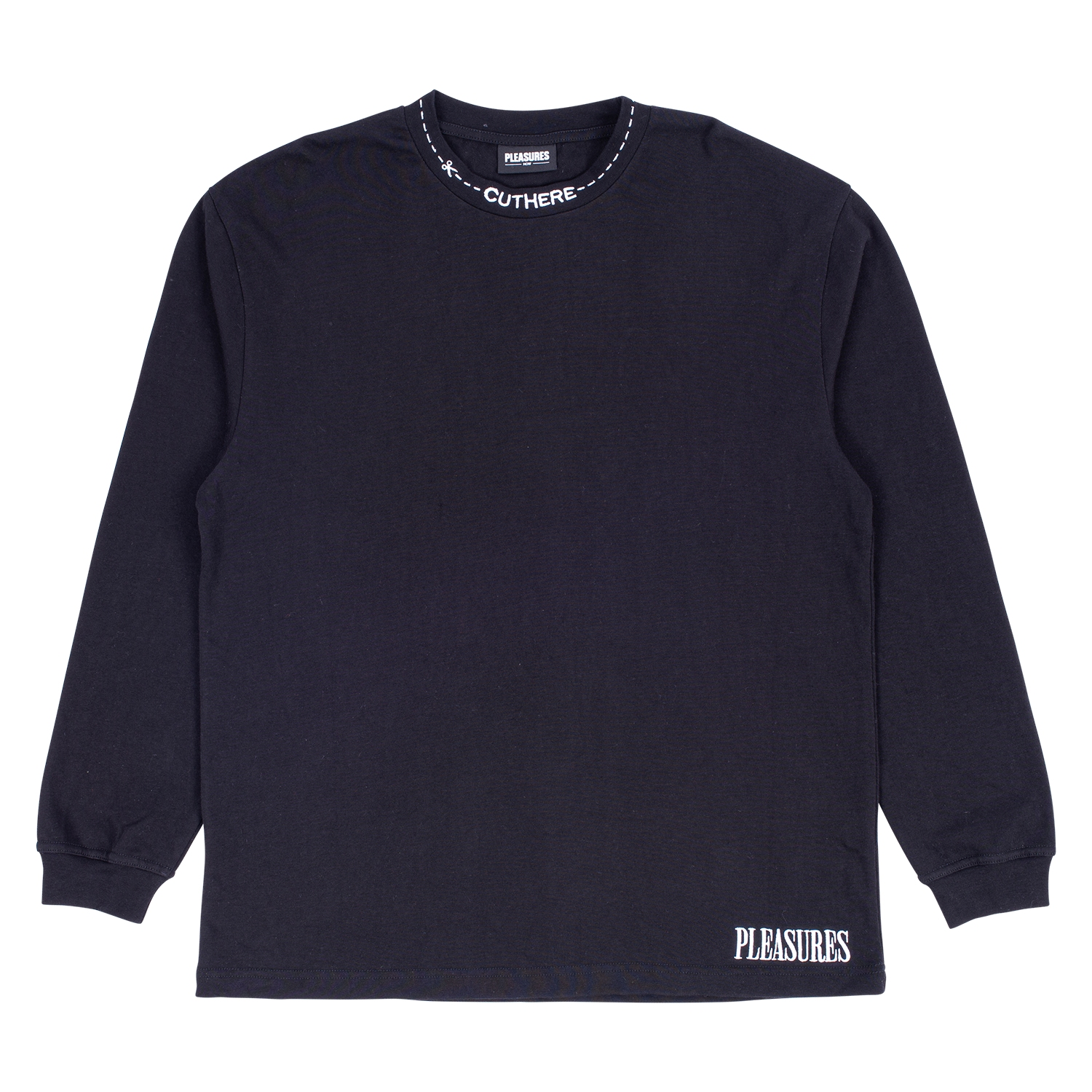 【PLEASURES/プレジャーズ】CUT HERE HEAVYWEIGHT L/S SHIRT カットソー / BLACK