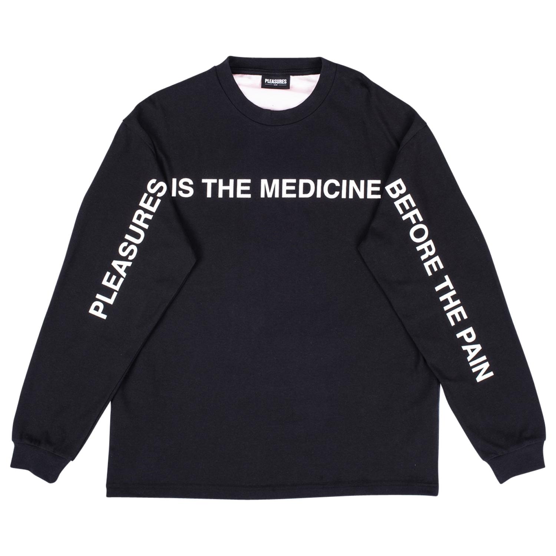 【PLEASURES/プレジャーズ】MEDICINE PREMIUM L/S SHIRT 長袖カットソー / BLACK
