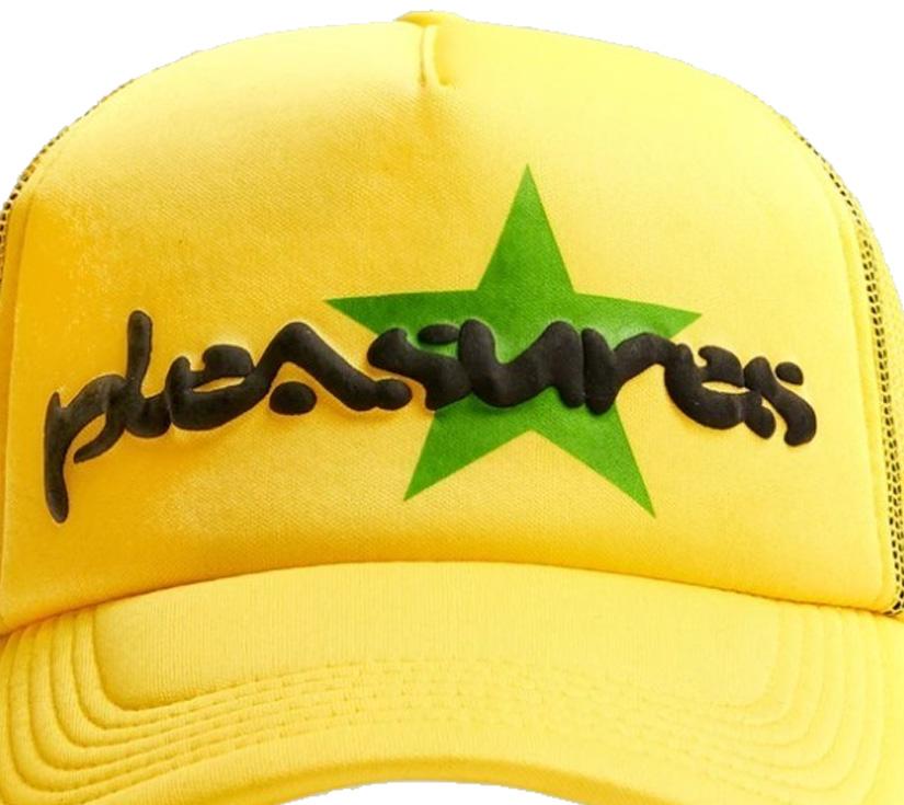 【PLEASURES/プレジャーズ】VIBRATION MESH TRUCKER CAP キャップ / YELLOW