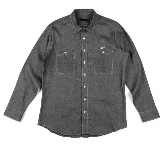 【RAISED BY WOLVES/レイズドバイウルブス】CHAMBRAY FLANNEL WORK SHIRT 長袖シャツ / BLACK