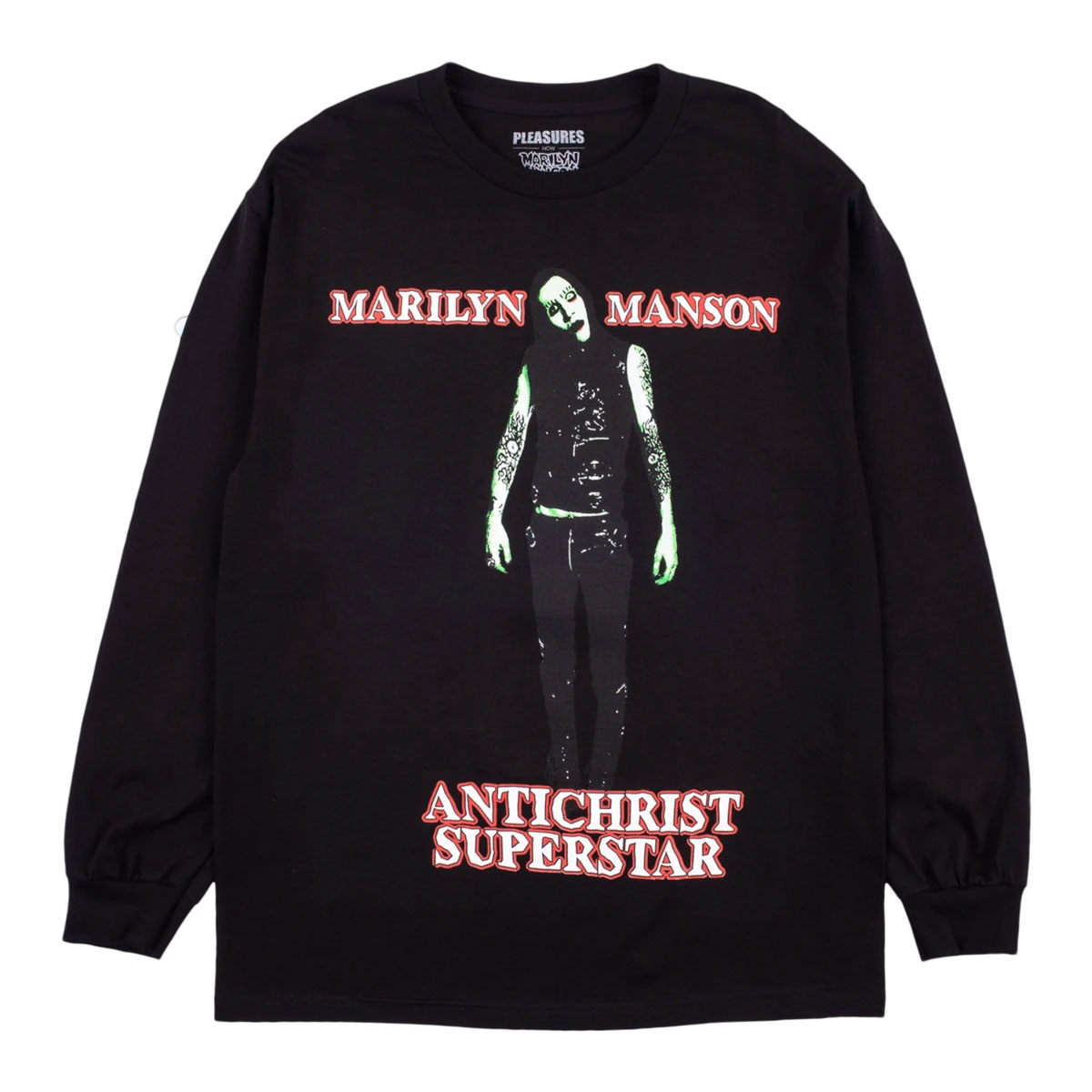 【PLEASURES/プレジャーズ×MARILYN MANSON/マリリン・マンソン】SUPERSTAR LONG SLEEVE ロングTシャツ / BLACK