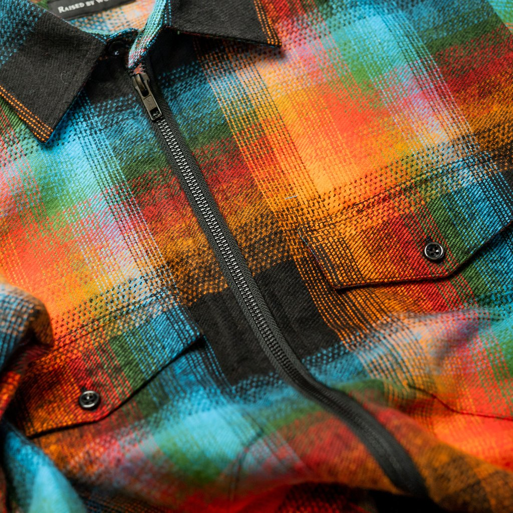 【RAISED BY WOLVES/レイズドバイウルブス】DOUBLE PLAID FLANNEL ZIP SHIRT ジップシャツ / DOUBLE PLAID