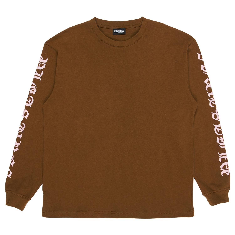 【PLEASURES/プレジャーズ】OLD E HEAVYWEIGHT LONG SLEEVE 長袖Tシャツ / BROWN