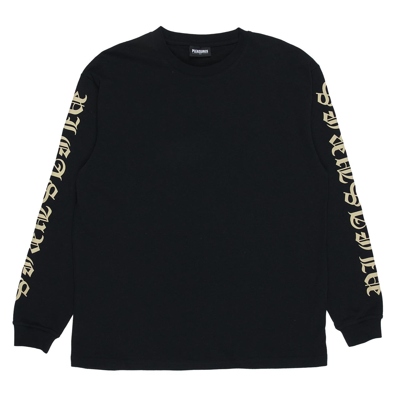 【PLEASURES/プレジャーズ】OLD E HEAVYWEIGHT LONG SLEEVE 長袖Tシャツ / BLACK