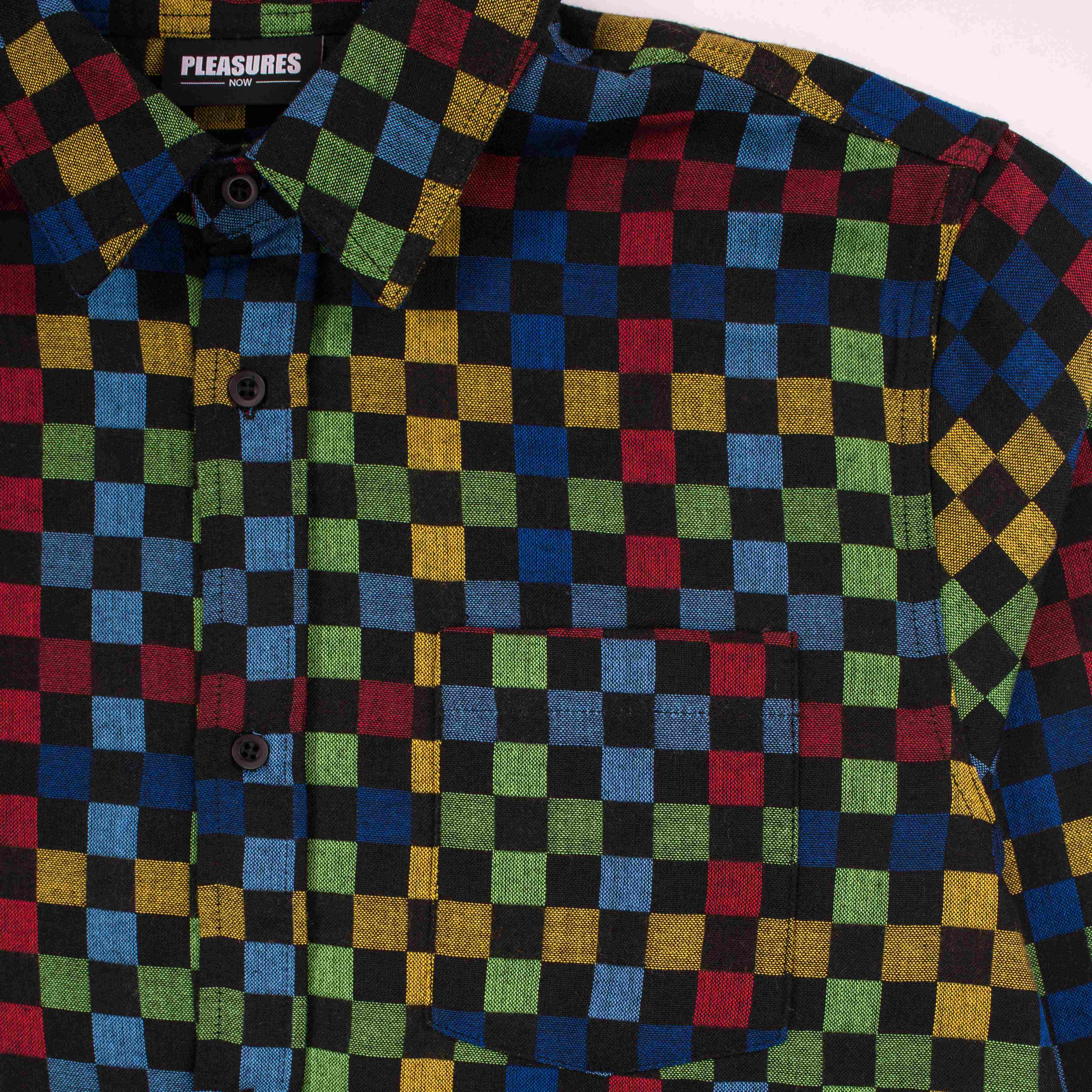 【PLEASURES/プレジャーズ】FREQUENCY WOVEN BUTTON UP 長袖シャツ / BLACK