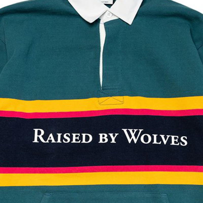 【RAISED BY WOLVES/レイズドバイウルブス】RBW/BARBARIAN RUGBY SWEATER ラグビーシャツ / TEAL