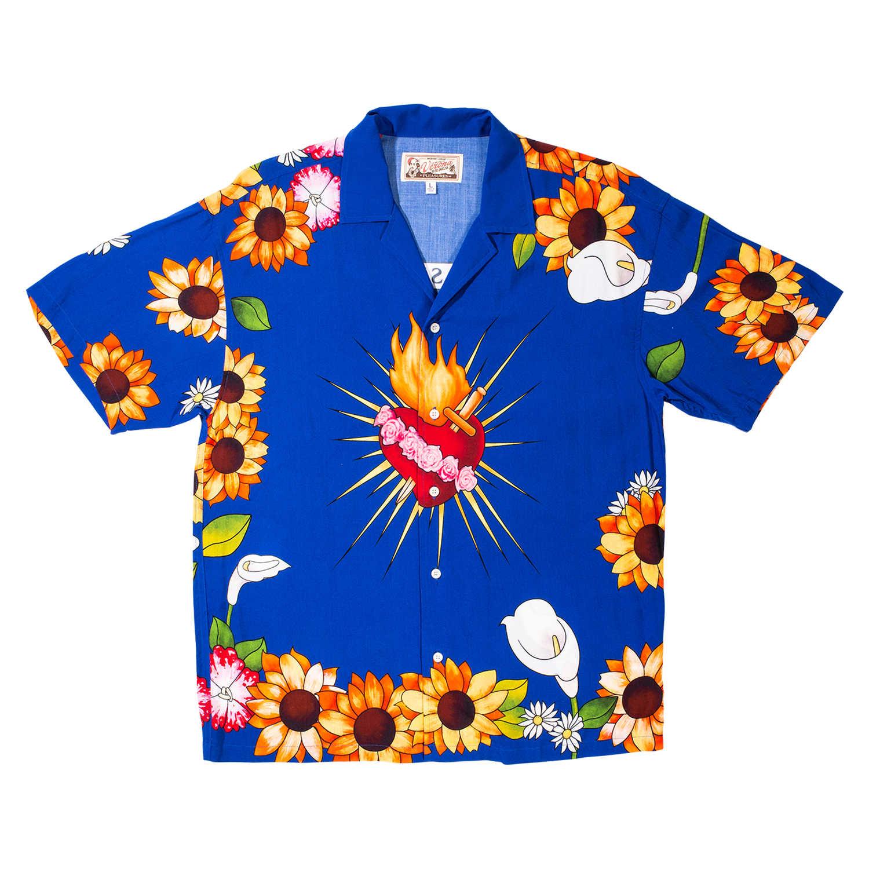 【PLEASURES/プレジャーズ】GANGSTER SHORT SLEEVE BUTTON UP 半袖シャツ / BLUE