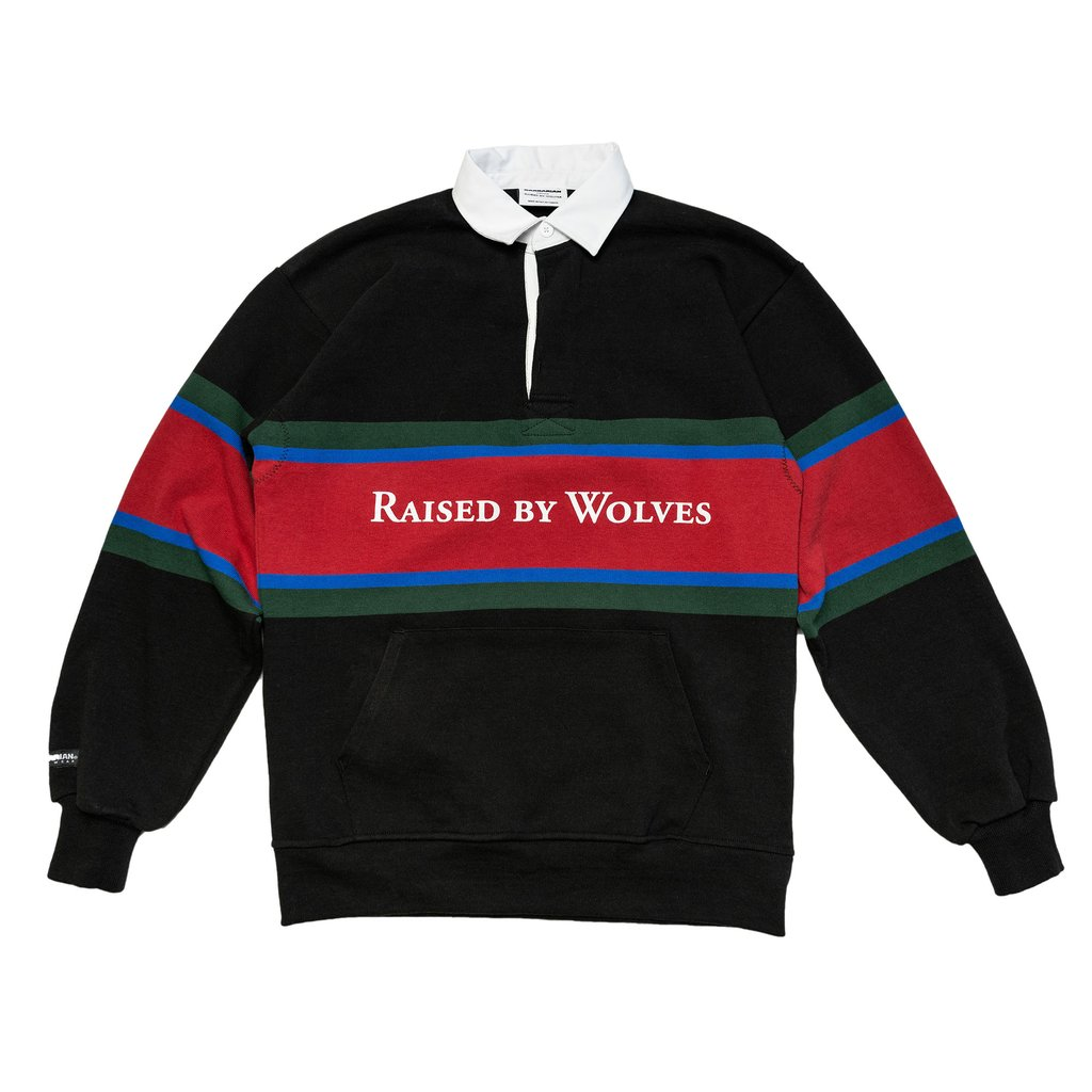 【RAISED BY WOLVES/レイズドバイウルブス】RBW/BARBARIAN RUGBY SWEATER ラグビーシャツ / BLACK