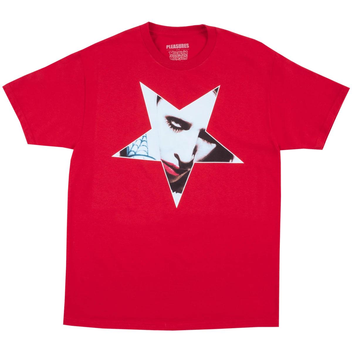【PLEASURES/プレジャーズ×MARILYN MANSON/マリリン・マンソン】FINGERS T-SHIRT Tシャツ / RED