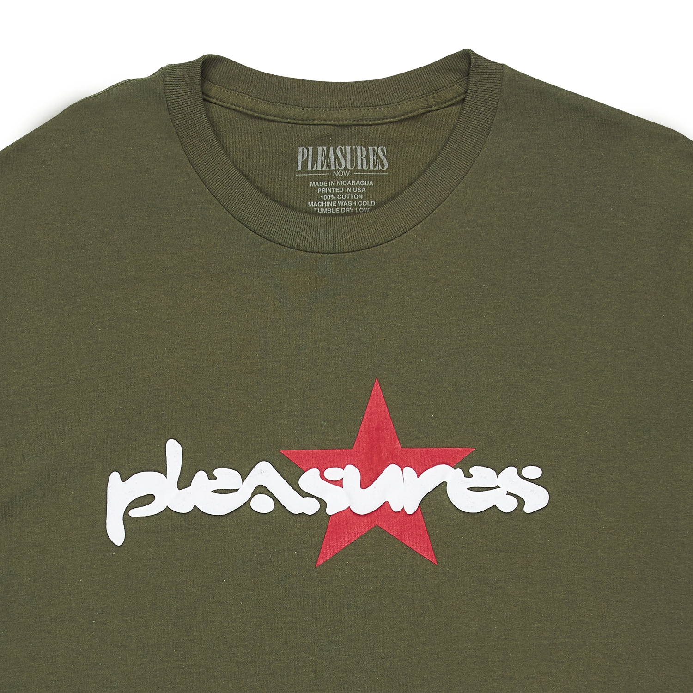 【PLEASURES/プレジャーズ】VIBRATION T-SHIRT Tシャツ / OLIVE