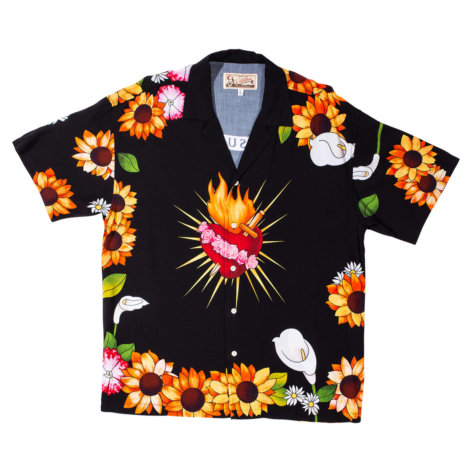【PLEASURES/プレジャーズ】GANGSTER SHORT SLEEVE BUTTON UP 半袖シャツ / BLACK