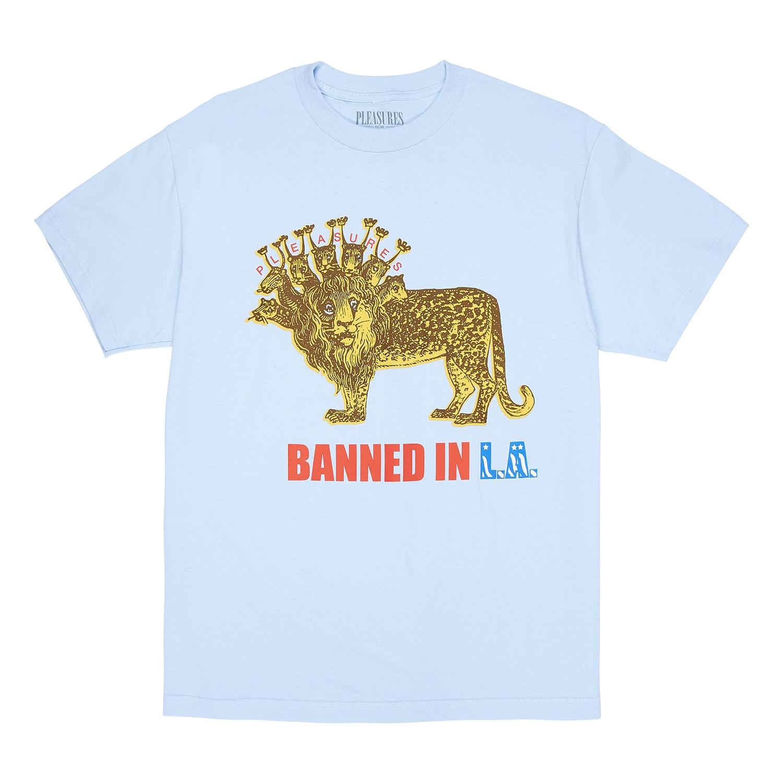 【PLEASURES/プレジャーズ】BANNED T-SHIRT Tシャツ / POWDER BLUE