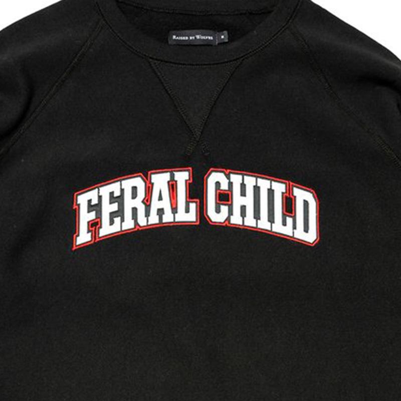 【RAISED BY WOLVES/レイズドバイウルブス】FERAL CHILD CREWNECK SWEATSHIRT クルーネックスウェット / BLACK