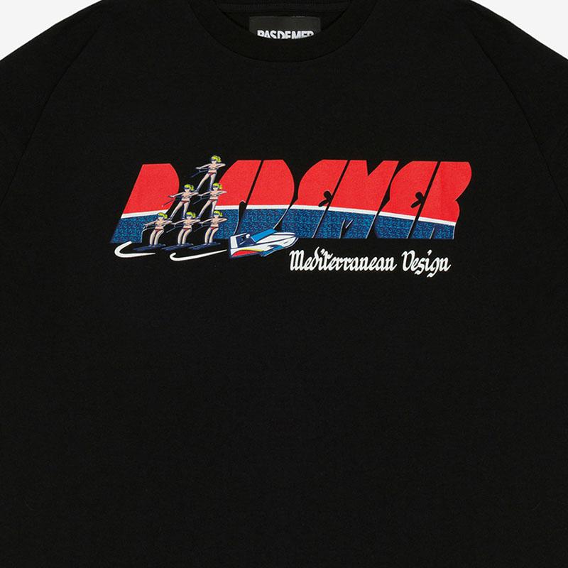 【PAS DE MER/パドゥメ】NEW MED DESIGN T-SHIRT オーバーサイズTシャツ / BLACK