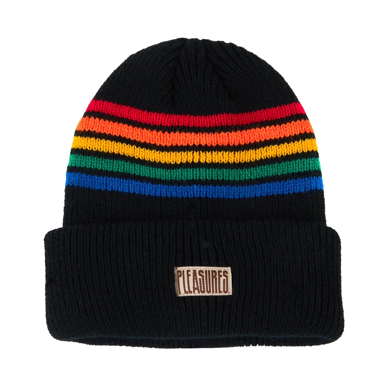【PLEASURES/プレジャーズ】ISLAND STRIPED BEANIE ニット帽 / BLACK