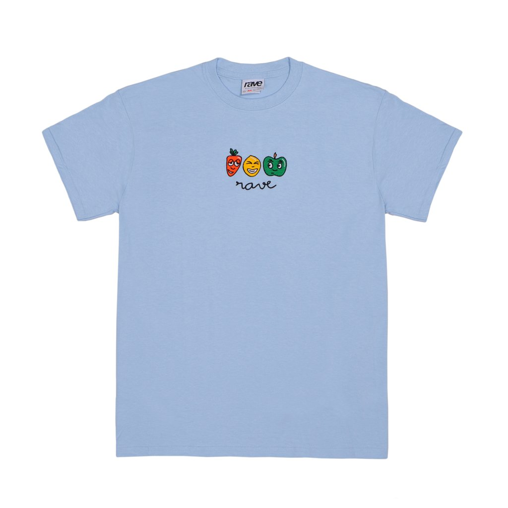 【RAVE SKATEBOARDS/レイブスケートボード】MANGEZ BOUGEZ TEE Tシャツ / LIGHT BLUE