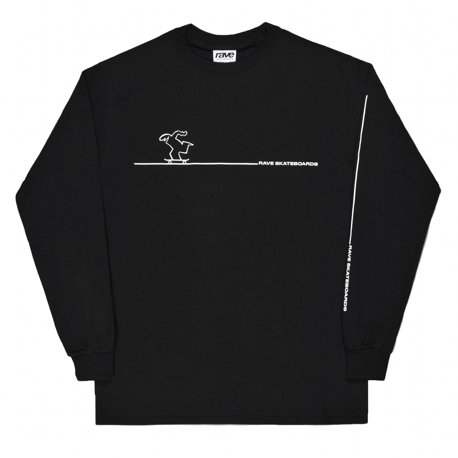 【RAVE SKATEBOARDS/レイブスケートボード】CAVENDOLI  ロングTシャツ / BLACK