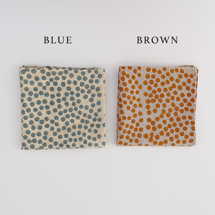ハンカチ スワーム ドット 全2色 ブルー ブラウン