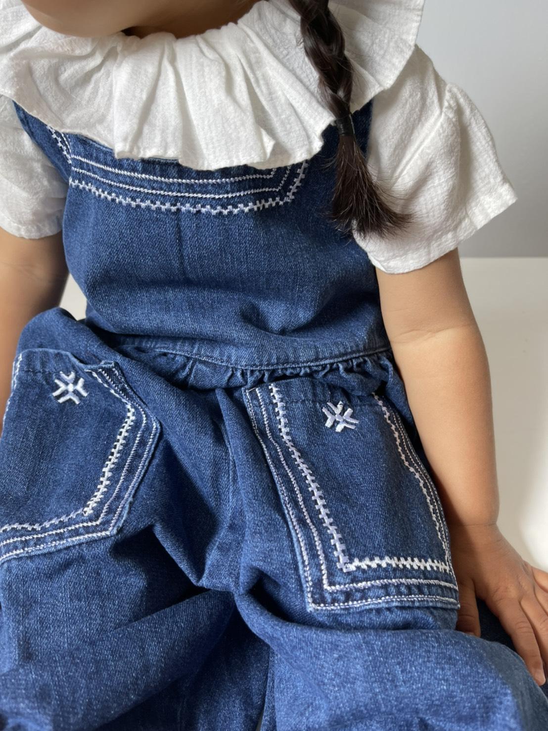 aile - Embroidery Denim salopette 90-130cm [5/5まで5%OFF]