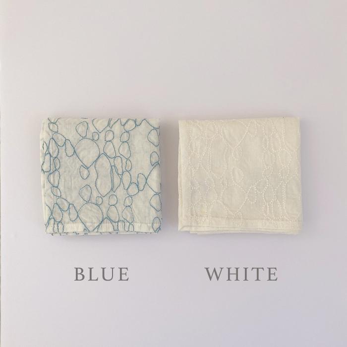ハンカチ バブルリング エンブロイダリー 全2色 ブルー ホワイト