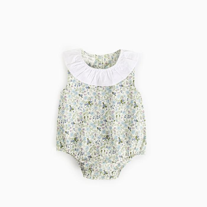 Baby FLOWER ROMPERS 70/80/90cm [ Light Green ]