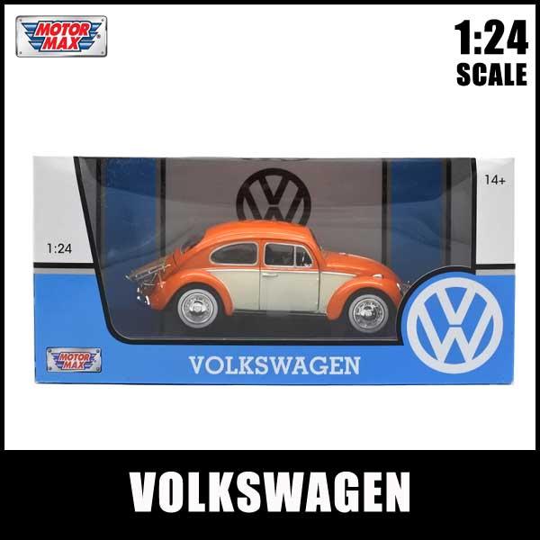 1/24 箱入り ミニカー VOLKSWAGEN BEETLE オレンジ/アイボリー フォルクスワーゲン ビートル VW ワーゲン モーターマックス社製